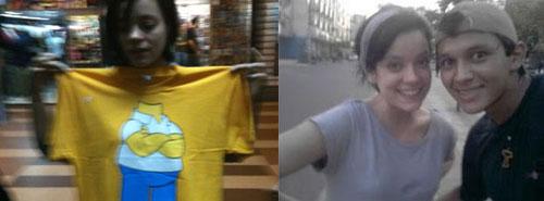 Lily Allen se diverte na Galeria do Rock e tira foto com fã no Acre.