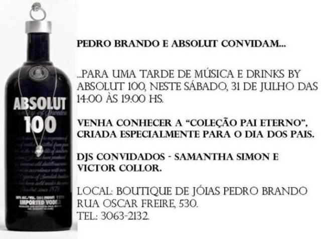 Pedro Brando e Absolut Black convidam